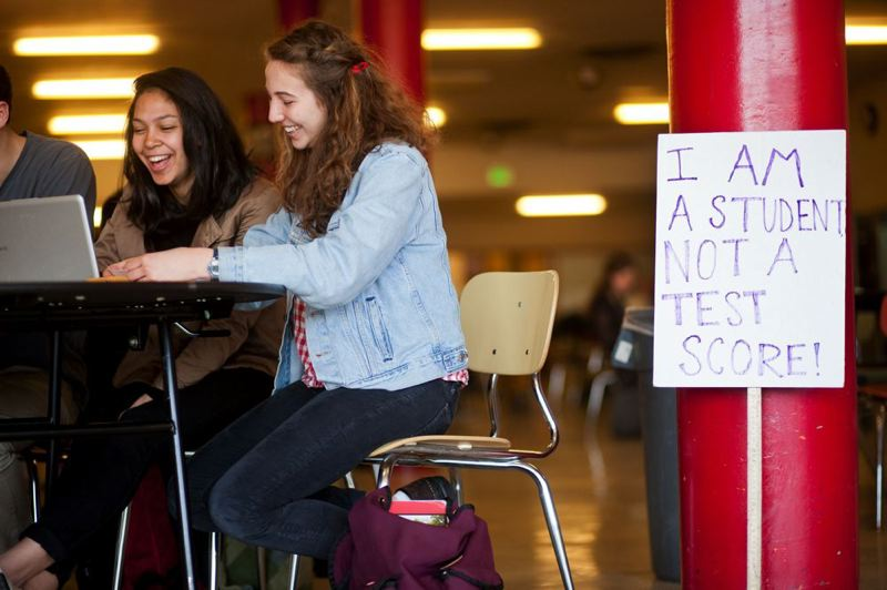 by: TRIBUNE PHOTO: CHRISTOPHER ONSTOTT - Lincoln High senior Alexia Garcia (left) has used her position as student representative to the Portland School Board to start a conversation about testing - a hot-button issue here and nationally.