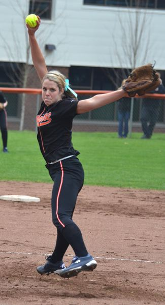 by: JOHN BREWINGTON - Scappose's Kendall Bailey has handled the bulk of the pitching chores for the Lady Indians thus far. The Tribe has had three close losses, and then picked up a win over Cascade on WAednesday night.