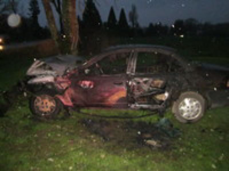 by: WASHINGTON COUNTY SHERIFF'S OFFICE - Isidro Franco-Garcia saved a 3-year-old child from this car, which was on fire.