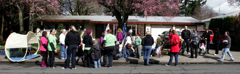 by: OUTLOOK PHOTO: JIM CLARK - Supporters of Bonnie Burch demonstrate across the street from Eastside Elementary School on Wednesday, March 20. Multnomah Education Service District wont allow Bonnie to be fed with a forced tube on the school grounds,  so a lunch was held across the street.