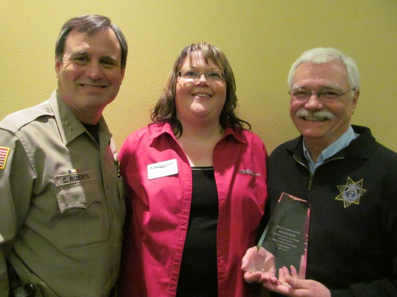 by: PHOTO BY: ELLEN SPITALERI - From left, Clackamas County Sheriff Craig Roberts, Janelle Meredith and Al Herberholz.
