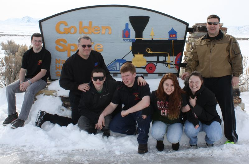 by: SUBMITTED PHOTO - OCHS JROTC team members visit the Golden Spike as part of their trip to nationals. From left, Robert James, coach Phil Boss, Britt Bangle, Ben Jennings, Nicole Moorman, Taylor Peitrok and 1st Sgt. Darren Larson, U.S. Army instructor.