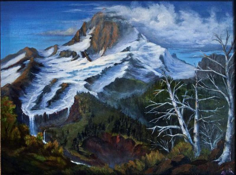 by: CONTRIBUTED PHOTO: ROD STROH - CONTRIBUTED PHOTO: ROD STROH  Sandy artist Becky Hawley spent a day painting at the Cloud Cap Inn last summer. This is one of the art pieces she produced that day, which she called 'a most enjoyable and awesome experience.' View it up close and personal at the SAT art exhibit.