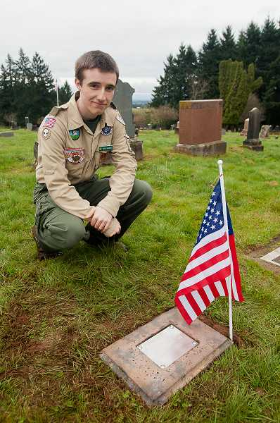 by: JOSH KULLA - Eagle Scout candidate Reed Burress of Boy Scout Troop 194 recently built and installed markers like the one above to honor the resting places of military veterans at the Pleasant View Cemetery.