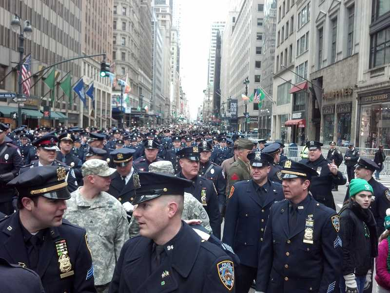 by: SUBMITTED PHOTO - A sea of law enforcement filled the streets of New York City just before the parade was set to begin.