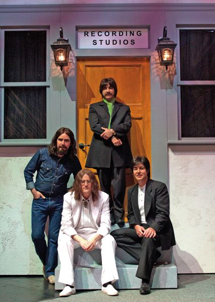 by: COURTESY OF RAIN/CYLLA VON TIEDEMANN - Beatles band Rain, which plays at the Keller Auditorium April 5-6, always works to refine itself in the Fab Four's image and sound, says longtime member Steve Landes (John Lennon, lower left).