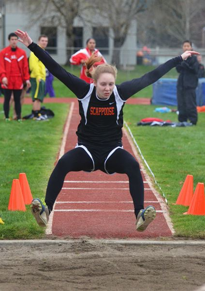 by: JOHN BREWINGTON - Carly DiPietro, shown here at the Anderson Relays, also had some good efforts at a meet in Sweet Home last week.