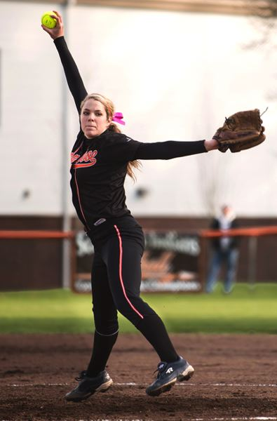 by: JEREMY DUECK - Scappoose's Kendal Bailey pitches during last week's game with Molalla.