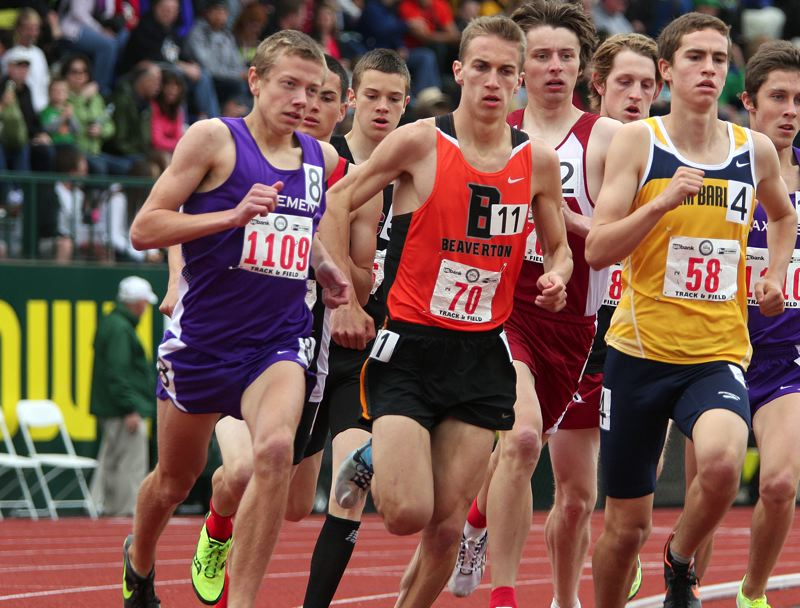 by: MILES VANCE - BACK AND RUNNING STRONG - Beaverton senior Dan Oekerman (center) is back to lead his team in 2013 after winning the Class 6A state championship in the 3000 meters last spring.