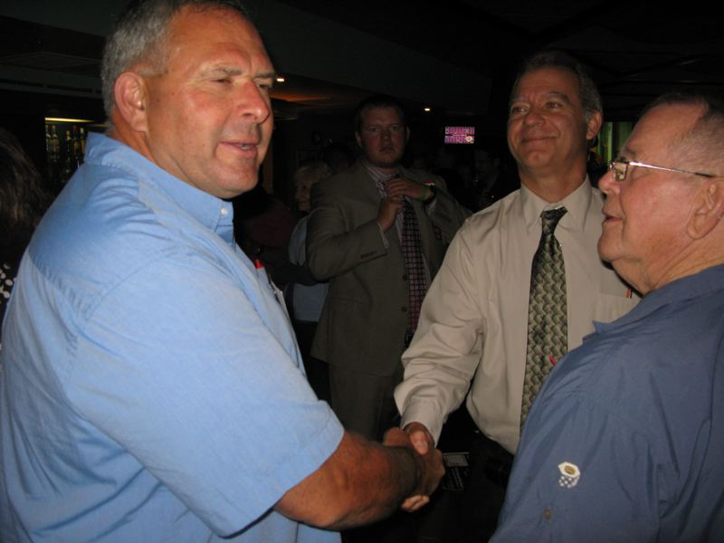 by: FILE PHOTO: RAYMOND RENDLEMAN - County Commissioner Paul Savas is seen celebrating on election night in September 2012 with Jim Knapp, who was the chief petitioner on a measure that now forces votes on public-rail proposals in Clackamas County. Savas' views on light rail and other county issues in last week's newspaper generated a lot of reader interest.