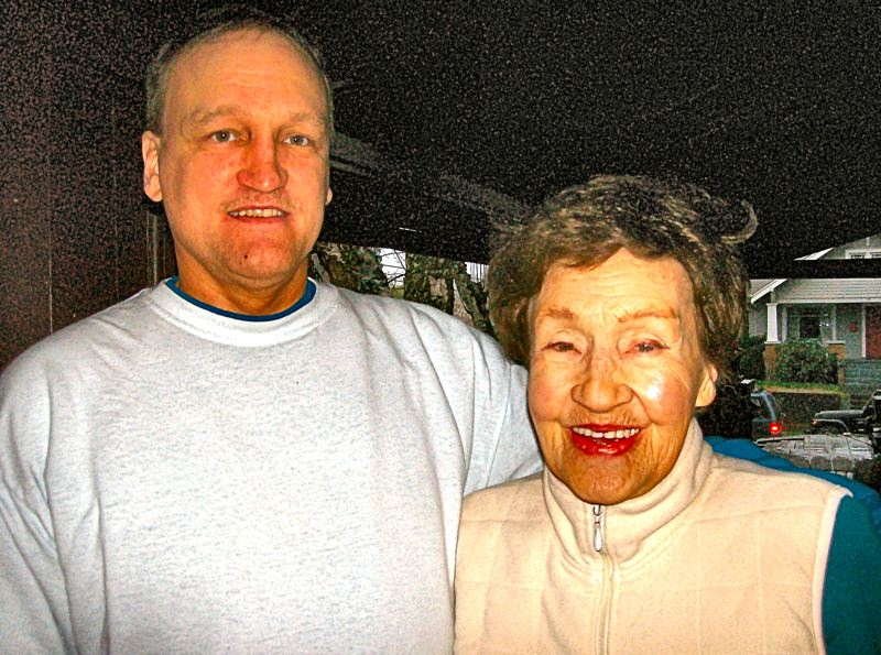 by: FILE PHOTO BY RITA A. LEONARD - Hazel Knepper, 90, and son Paul, 55. The well-known pair died instantly on March 9th in a violent traffic collision with a speeding drunk driver at S.E. 28th Place and Gladstone Street.