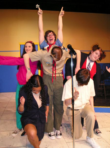 by: COURTESY PHOTO: THEATRE IN THE GROVE - The spellers in The 25th Annual Putnam County Spelling Bee can also sing and dance! (Back L-R: Brittney Bickel, Kevin Dempsey, Brittney Spady; Middle: William Dober; Front L-R: Justin Canfield, Lynley Shaw).