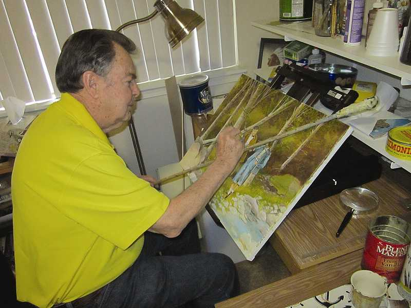 by: TIMES PHOTO: BARBARA SHERMAN - Joe Adams has his easel set up in his bedroom in front of a window, and he paints for several hours each day; the painting he is currently working on is a scene of a couple in the 1940s.