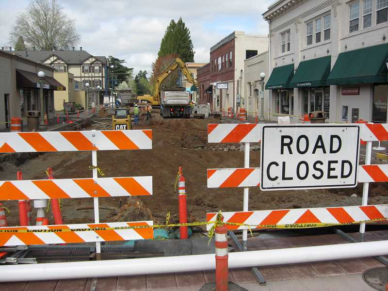 by: RAY PITZ - Excavation of Washington Street has begun after Railroad Street was reopened recently.