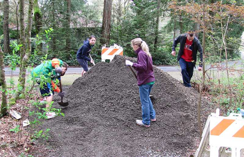 by: SUBMITTED PHOTO: PAUL LYONS - Lake Oswego High School volunteers helped spread gravel at Springbrook Park last year.