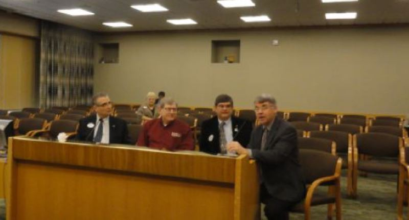by: CONTRIBUTED PHOTO - In a nearly empty hearing room at the State Capitol, testifying before the Oregon Senate Rules Committee are, from left, Rep. Bill Kennemer, R-Oregon City; Steve Bates, chairman of the Boring Community Planning Organization; Sen. Alan Olsen, R-Canby; and Sen. Chuck Thomsen, R-Hood River.