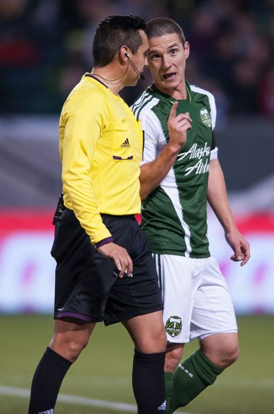 by: TRIBUNE PHOTO: NICK FOCHTMAN - Canadian midfielder and MLS veteran Will Johnson, arguing a call with the referee in the season opener against New York, has emerged as one of the Portland Timbers' leading players and scoring threats.