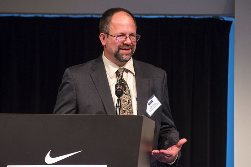 by: TRIBUNE PHOTO: CHASE ALLGOOD - Washington County Chair Andy Duyck delivered his third annual State of the County address at Nike's World Headquarters Campus near Beaverton.