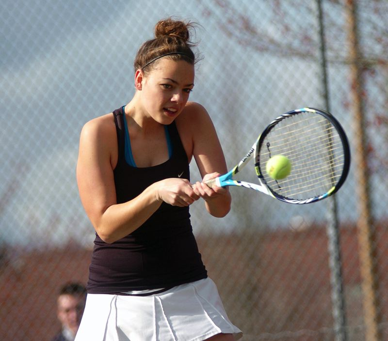 by: DAN BROOD - ONE OF THE BEST -- Tualatin High School senior Eloise Loen, who reached the Pacific Conference district tournament singles championship match last year, is back and playing strong for the Wolves.