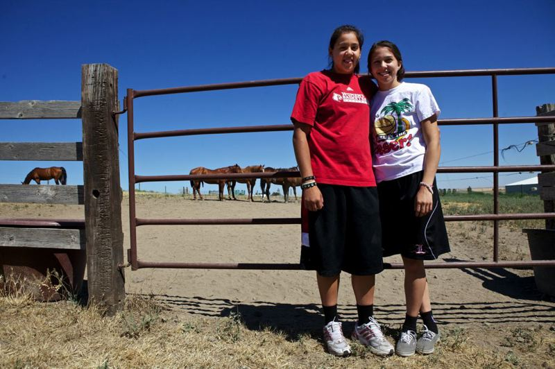 by: TRIBUNE FILE PHOTO: JAIME VALDEZ - Early in their Louisville basketball careers, former Franklin High stars Shoni (left) and Jude Schimmel visited Eastern Oregon during a trip west by the Cardinals.