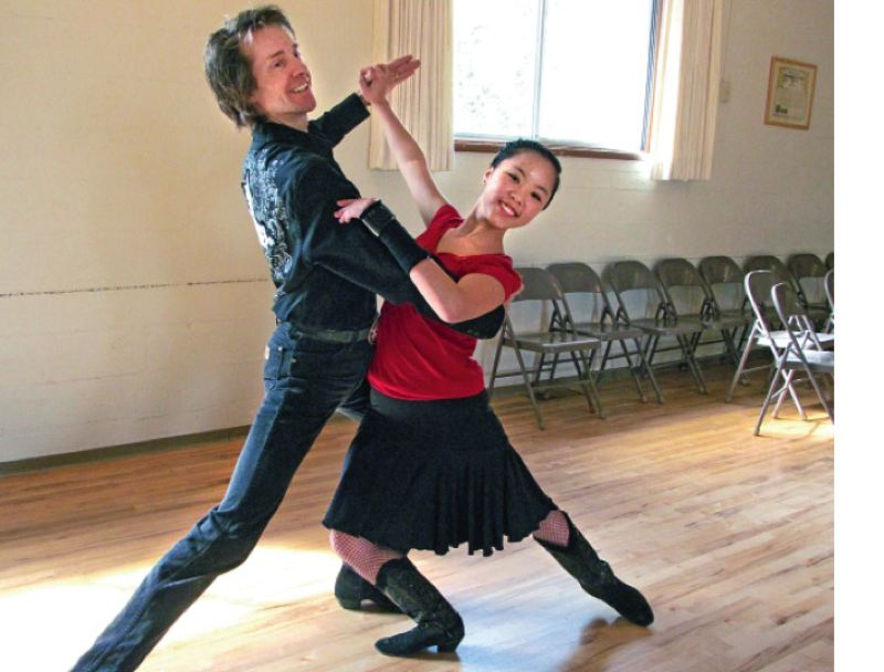 by: PHOTO BY ELLEN SPITALERI - Chris Small and LeeAnn Farestrand prepare for an upcoming dance competition.