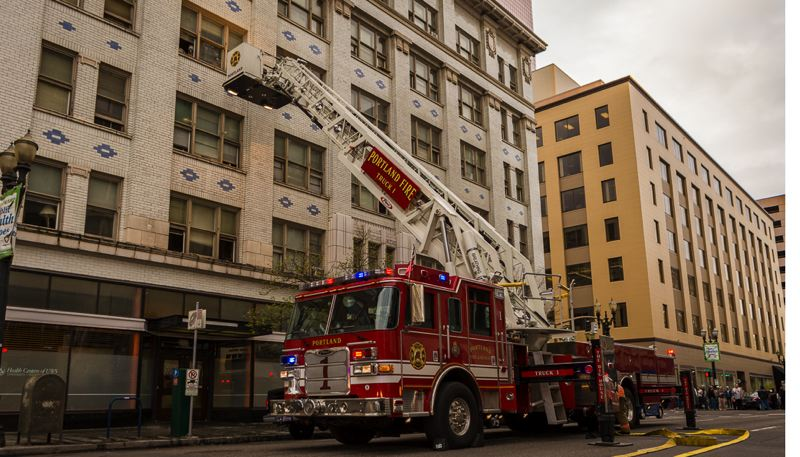 by: COURTESY OF GREG MUIR, PORTLAND FIRE BUREAU - A 50-year-old man was burned Monday afternoon in a downtown Portland apartment building fire.