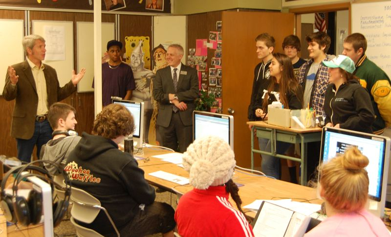 by: PHOTO BY: KYLIE WRAY - U.S. Rep. Kurt Schrader (left) with North Clackamas Superintendent Matt Utterback and students at the Sabin-Schellenburg Career Technical Center.