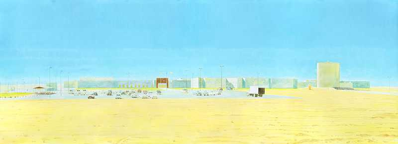 Idaho Correctional Center, Kuna, Idaho by Buddy Bunting, created of watercolor, flashe and pencil on paper, 2012.