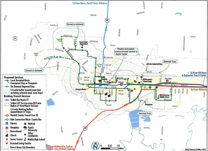 by: COURTESY PHOTO: NELSON/NYGAARD CONSULTING ASSOCIATES - A transit consultants proposed route (the solid green lines) for Forest Groves new local service  includes possible deviations (the dotted green lines) to places such as Viasystems, based on demand. The green dots along the route represent proposed bus stops. The blue lines represent TriMets 57 bus route.
