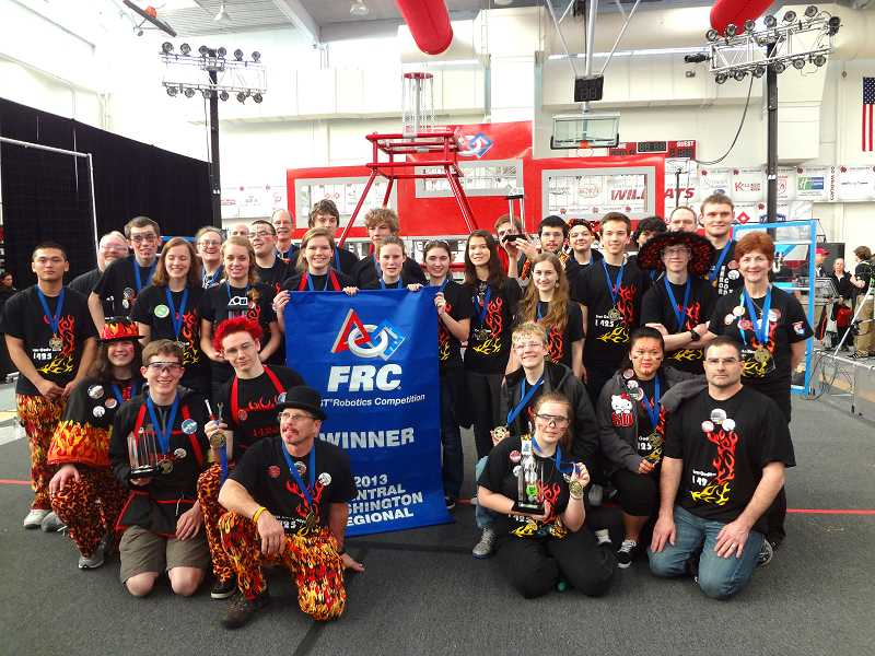 by: SUBMITTED PHOTO - Team 1425 is shown here in Ellensburg, Wash., after winning the Ellensburg Regional.