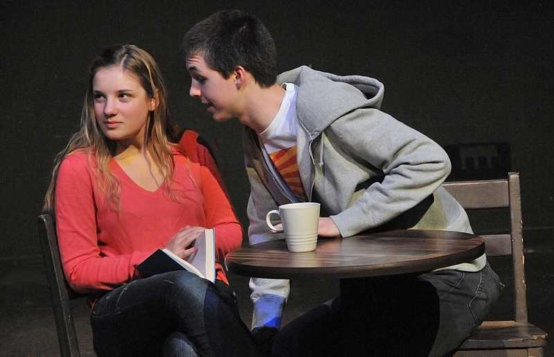 by: REVIEW PHOTO: VERN UYETAKE - Anni Behren and Noah Livingston play two people who meet in a cafe in 'All in the Timing.'