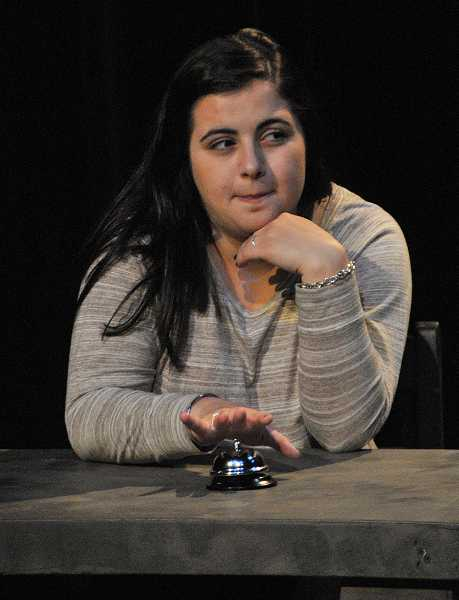 by: REVIEW PHOTO: VERN UYETAKE - Natalie Arakelian is the bell ringer in 'All in the Timing.'