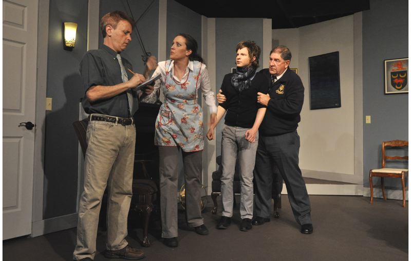 by: CONTRIBUTED PHOTO: MICHAEL HENLEY, CONTEMPORARY IMAGES - Detective Sgt. Trotter, from left, played by Steven Fried, questions Mollie, played by Courtney Maxwell-Shey, as well as Christopher Wren, portrayed by Jeffrey Sanders, about the murder at Monkswell Manor. Major Metcalf, far right, played by George Farquhar, is trying to calm Wren down after he was accused of the murder.