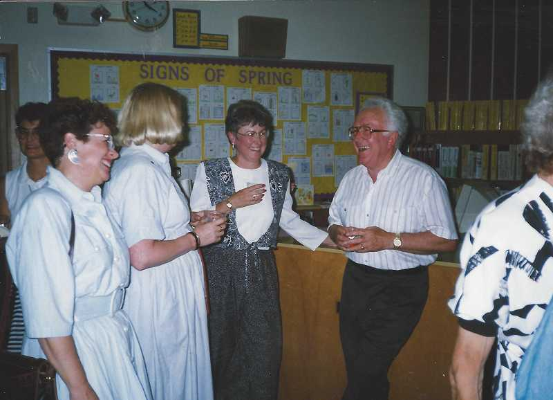 by: SUBMITTED PHOTO - Bob Post, right, mingles with Templeton Elementary School teachers Jan Altig, Cullly Holte, Martha Griggs (from left to right).