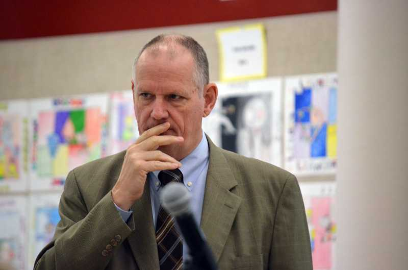by: TIMES PHOTO: GEOFF PURSINGER - Tigard-Tualatin School Districts Interim Superintendent Roger Rada laid out plans for the 2013-14 budget this week, which will likely include layoffs to teachers and administrators totaling about $4 million.