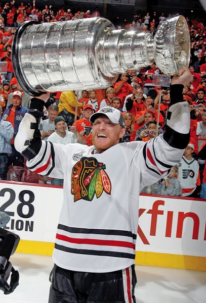by: COURTESY OF CHICAGO BLACKHAWKS - Marian Hossa, former Portland Winterhawks star, hoists the Stanley Cup after the Chicago Blackhawks beat the Philadelphia Flyers in the 2010 NHL finals.