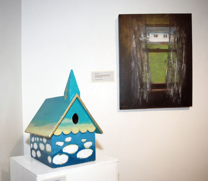 by: ESTACADA NEWS ISABEL GAUTSCHI - Bradfords Heaven, Oregon show includes this painted birdhouse, Heaven on Wood, Quiet Time, painted from the perspective of looking out the window of one of the Three Lynx houses.