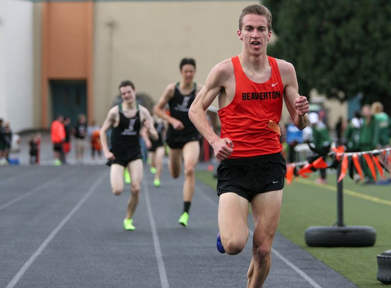 by: MILES VANCE - BEAVER LEADER - Beaverton's Dan Oekerman races to victory in the 1500 meters against Jesuit last week.