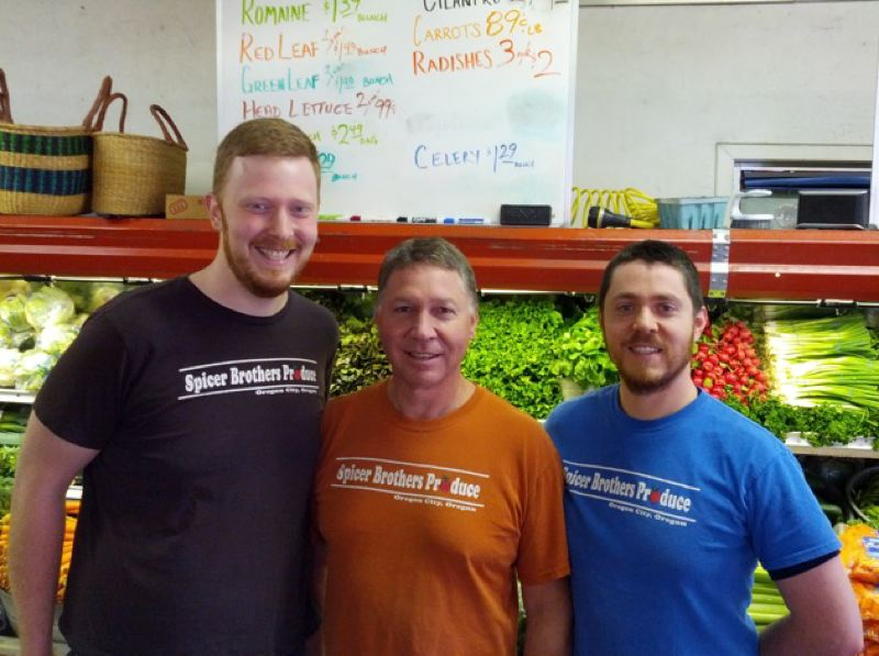 by: PHOTO COURTESY: MAIN STREET OC - Chris Spicer, Keith Spicer and Andy Spicer pictured at Spicer Brothers Produce, 508 14th St., Oregon City.