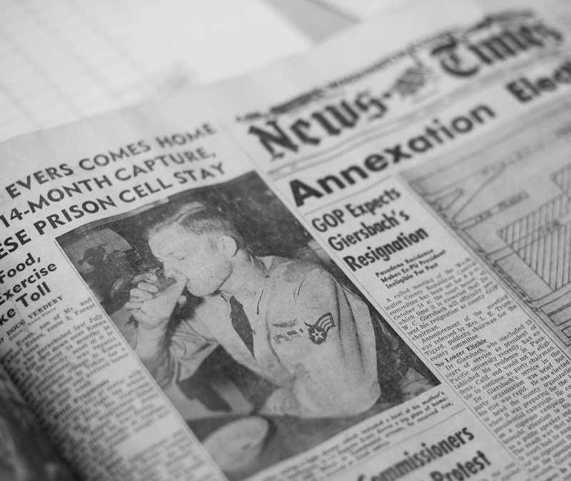 by: NEWS-TIMES PHOTO: CHASE ALLGOOD - The Sept. 24, 1953, Washington County News-Times featured a story about Gene Evers return on its front page.