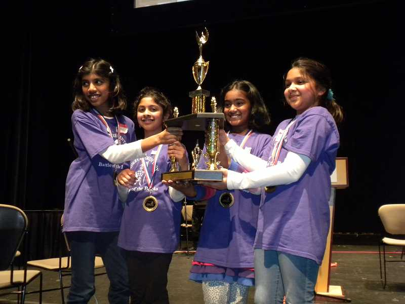 by: SUBMITTED PHOTO - Findley Elementary School's Suhani Jain, Arushi Mantri, Kanthi Karumbunathan and Maisha Sinha claimed top honors in the state's Battle of the Books championship.