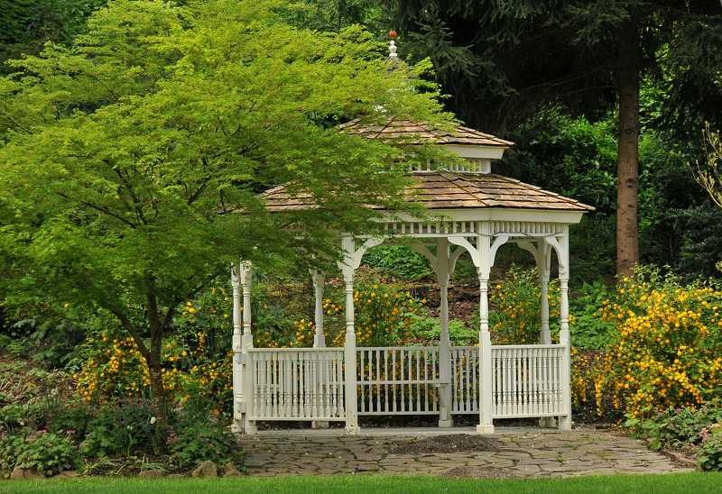 by: TIDINGS PHOTO: VERN UYETAKE -  A gazebo sits on the grounds at the McLean Park and House.