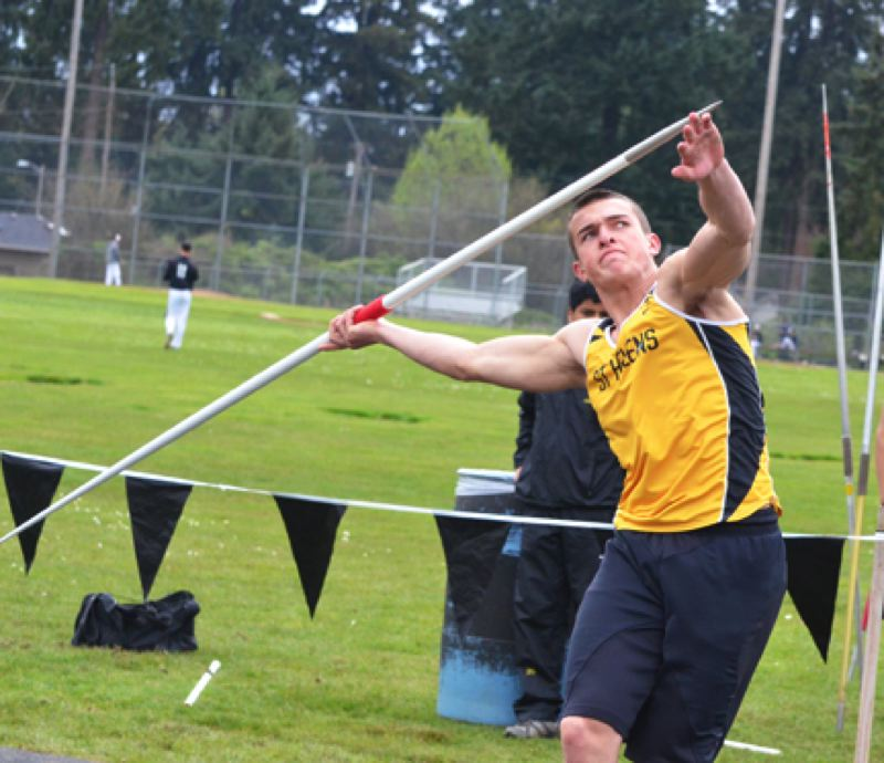 by: JOHN BREWINGTON - St. Helens Nate Reed is breaking new ground for the Lions with his javelin and also in discus. Reed set a new javelin record in the the decades-old Lower Columbia Invitational on Saturday with a toss of 173-feet, 7-inches.