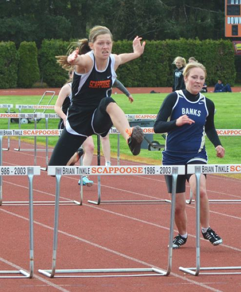by: JOHN BREWINGTON - Scappoose freshman Eleanor Jones won both hurdle events against Banks last week, and also had a third and fourth at the Lower Columbia 