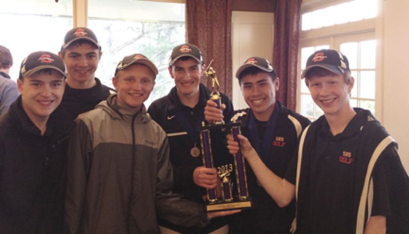 by: SUBMITTED PHOTO - Golfers on the Scappoose High team that won the Fish Invite at Astoria included: (from left) Tyler Lukinbeal, Johnathon Tardif, Taylor Thomas, Alex Lukinbeal, Nick Nguyen, and Justin Olbrich.