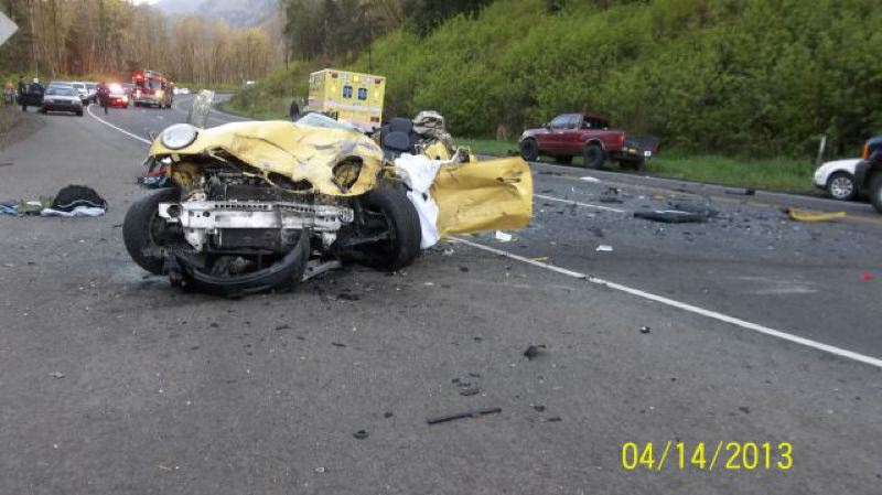 by: OREGON STATE POLICE - A head on two-vehicle crashed April 14 killed two people, including a young child who died of his injuries April 21, and closed Highway 30 for nearly three hours.