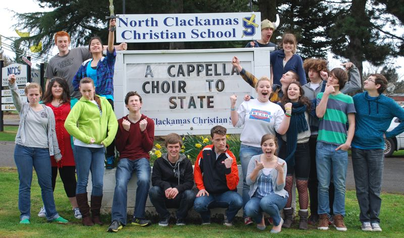 by: PHOTO COURTESY: NORTH CLACKAMAS CHRISTIAN SCHOOL - The North Clackamas Christian School choir celebrates their acceptance to the 2013 OSAA State Choir Championships on May 9.
