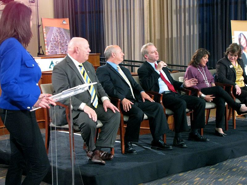 by: PHOTO COURTESY: CLACKAMAS COUNTY - During the April 9 State of the County, commissioners answered questions on transportation, health care, jobs, public safety and economic development. Watch the video recording at clackamas.us/bcc.