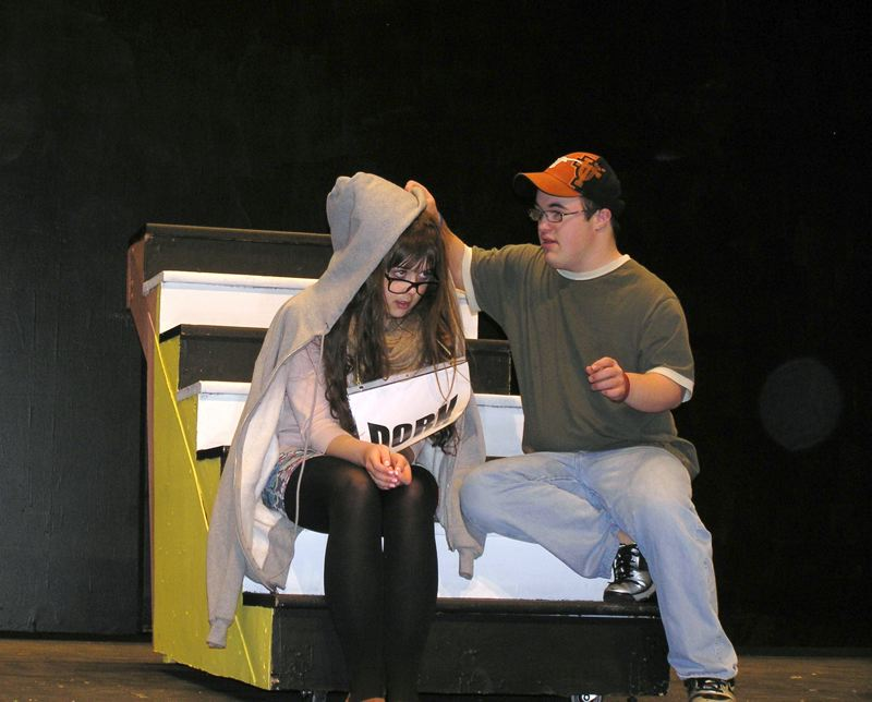 by: COURTESY PHOTO: JOHN ANDERBERG - Ellie Holscher and Chris Sullivan rehearse last week for Forest Grove High School Unify Theatre´s upcoming production of Marked.