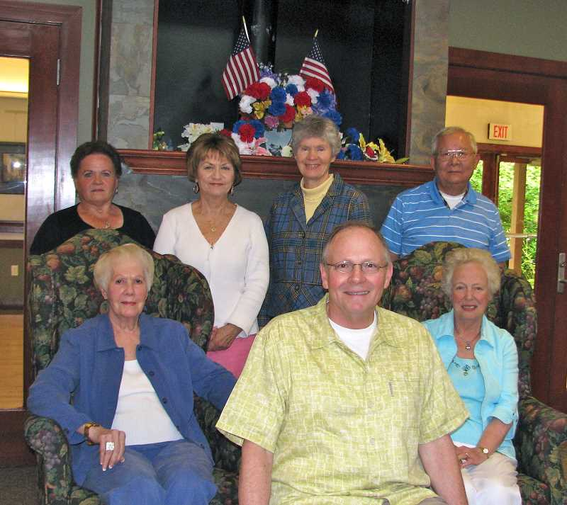 by: SUBMITTED PHOTO - Volunteering is what makes the West Linn Adult Community Center work. Pictured in front from left are volunteer  board members Marge Russell, Doug Dickson, Joyce Brown and back row, Rose Ek, Barbara Handley, Linda Scott and Allan Kawada.